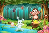 stock photo of rainforest animal  - Illustration of many animals in a jungle - JPG