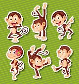 Illustration of six monkeys with different poses