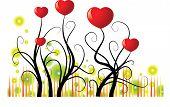Vector heart shape tree