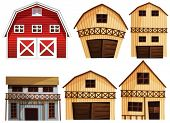 Illustration of different designs of barns