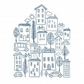 Town Doodles In House Shape