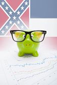 Piggy Bank With Us State Flag On Background - Mississippi
