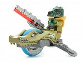 Ankara, Turkey - April 03, 2013 : Chima minifigure Cragger driving Speedorz isolated on white backgr