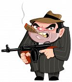 stock photo of tommy-gun  - Vector illustration of a tough gangster ready to shoot - JPG