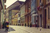 alley in the historic center of Brasov city Romania.