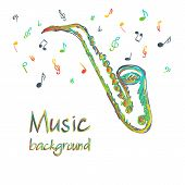 Saxophone Music Background With Notes