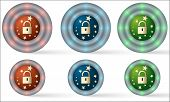Set Of Six Icons With Padlock
