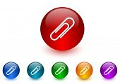 paperclip internet icons colorful set
