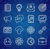 Flat Vector Icon Set Of Seo Symbols