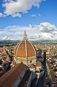 Super wide panoramic view of Florence with a dome of Santa Maria del Fiore cathedral in front