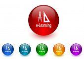 larning internet icons colorful set
