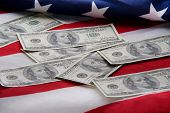 Money On Usa Flag
