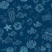 Hand Drawn Sea Theme Background