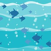Fish In Wave Seamless Pattern