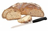 Isolated Image Of Bread With Grains; Bread And Butter And A Knife