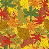 Vintage autumn leaves pattern