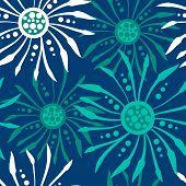 Vintage dark blue floral pattern