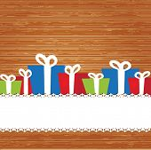 Christmas card with holiday elements: present boxes.