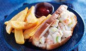 lobster roll and french fries panorama
