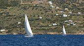 Sailing regatta at Aegean off the coast the Greek islands. Yachting.