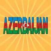 Azerbaijan flag text with sunburst vector illustration