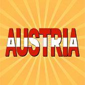 Austria flag text with sunburst vector illustration