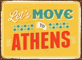 Vintage metal sign - Let's move to Athens - JPG Version