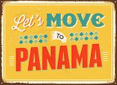 Vintage metal sign - Let's move to Panama - JPG Version