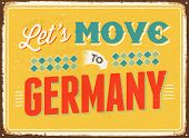 Vintage metal sign - Let's move to Germany - JPG Version