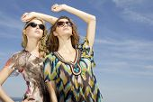two beautiful young adult attractive and sensuality brunette and blonde woman in sunglasses on backg