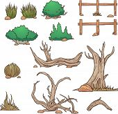 Desert elements, bushes and dead wood. Vector clip art illustration with simple gradients. Each elem