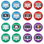 vector collection of  web development round icons: screen of per