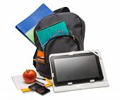 Backpack With School Supplies And A Tablet Computer.