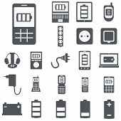 vector set of computer devices charging, battery, indicators, ad