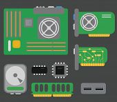 vector collection of personal computer parts: motherboard, video