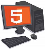 vector personal computer with html5 logo on the screen isolated