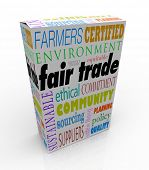Fair Trade words on a product package or box advertising the business uses sustainable suppliers pay