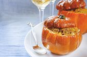 Baked Pumpkin Stuffed With Beef And Vegetables
