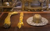 DUBROVNIK, CROATIA - MAY 26, 2014: The golden reliquaries of Dubrovnik's Cathedral of the Assumption