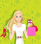 Shopping woman. Stylish design