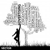 Vector concept or conceptual white abstract art tree and grass shape word cloud, a man jumping isola