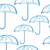 Blue hand drawn watercolor painted umbrellas seamless pattern