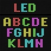 LED display alphabet. Vector.