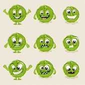 Cabbage in different moods, healthy food concept with cartoon facial expressions.