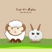 Muslim community festival of sacrifice Eid-Ul-Adha greeting card with sheep's.