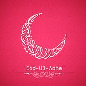 Arabic islamic calligraphy of text Eid-Ul-Adha in shape of moon on pink background for Muslim community festival celebrations.