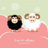 Muslim community festival of sacrifice Eid-Ul-Adha greeting card design with sheep's on creative col