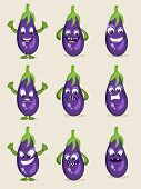 Brinjal in different moods, healthy food concept with cartoon facial expressions.