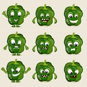 Capsicum in different moods, healthy food concept with cartoon facial expressions.