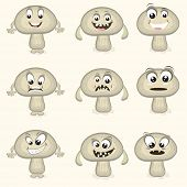 Mushroom in different moods, healthy food concept with cartoon facial expressions.